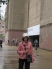 Mom in her fabulous rain hat out front of the Tate Modern!