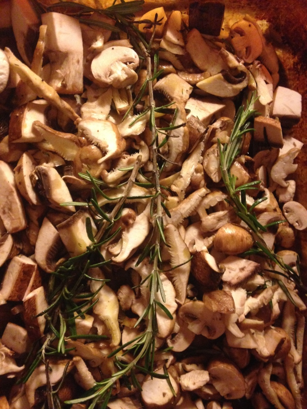 Mushrooms roasted with a little olive oil, apple cider vinegar, and rosemary!  Incredible!